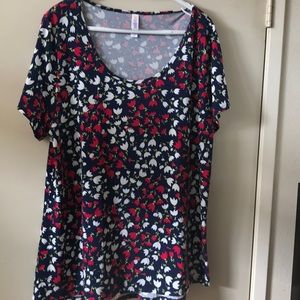2XL Perfect T Blue with red and white tulips